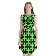 Puzzle1 Black Marble & Green Watercolor Sleeveless Chiffon Dress