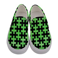 Puzzle1 Black Marble & Green Watercolor Women s Canvas Slip Ons