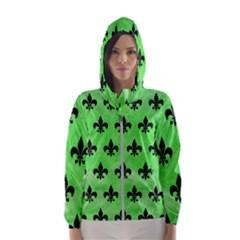 Royal1 Black Marble & Green Watercolor Hooded Wind Breaker (women)