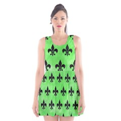 Royal1 Black Marble & Green Watercolor Scoop Neck Skater Dress