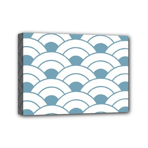 Art Deco,shell Pattern,teal,white Mini Canvas 7  X 5