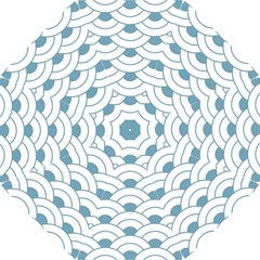 Art Deco,shell Pattern,teal,white Hook Handle Umbrellas (small)