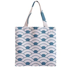 Art Deco,shell Pattern,teal,white Grocery Tote Bag