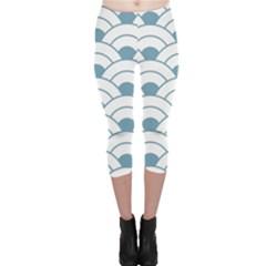 Art Deco,shell Pattern,teal,white Capri Leggings