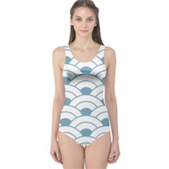 Art Deco,shell Pattern,teal,white One Piece Swimsuit