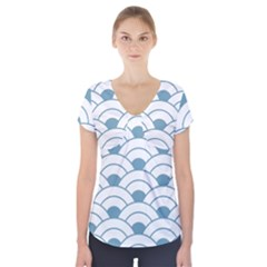 Art Deco,shell Pattern,teal,white Short Sleeve Front Detail Top