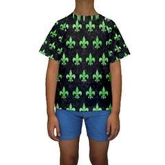 Royal1 Black Marble & Green Watercolor (r) Kids  Short Sleeve Swimwear