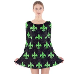 Royal1 Black Marble & Green Watercolor (r) Long Sleeve Velvet Skater Dress