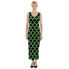 Scales1 Black Marble & Green Watercolor Fitted Maxi Dress
