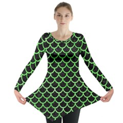 Scales1 Black Marble & Green Watercolor Long Sleeve Tunic