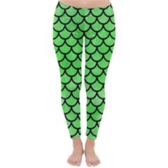 Scales1 Black Marble & Green Watercolor (r) Classic Winter Leggings