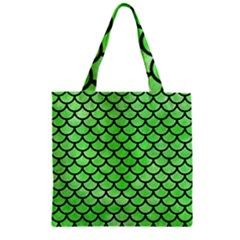 Scales1 Black Marble & Green Watercolor (r) Zipper Grocery Tote Bag