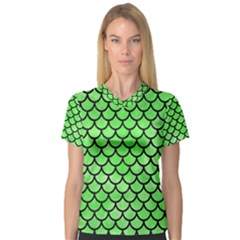 Scales1 Black Marble & Green Watercolor (r) V Neck Sport Mesh Tee