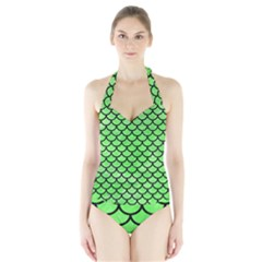 Scales1 Black Marble & Green Watercolor (r) Halter Swimsuit