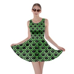 Scales2 Black Marble & Green Watercolor Skater Dress