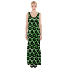 Scales2 Black Marble & Green Watercolor Maxi Thigh Split Dress