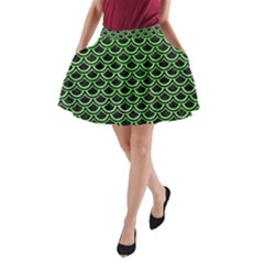 Scales2 Black Marble & Green Watercolor A Line Pocket Skirt