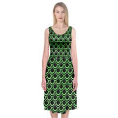 Scales2 Black Marble & Green Watercolor Midi Sleeveless Dress