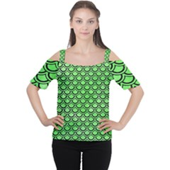 Scales2 Black Marble & Green Watercolor (r) Cutout Shoulder Tee