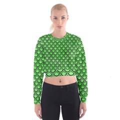 Scales2 Black Marble & Green Watercolor (r) Cropped Sweatshirt