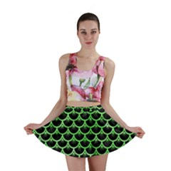 Scales3 Black Marble & Green Watercolor Mini Skirt