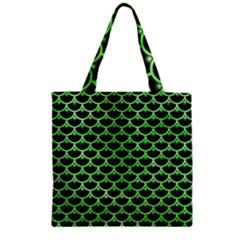 Scales3 Black Marble & Green Watercolor Zipper Grocery Tote Bag
