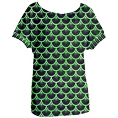 Scales3 Black Marble & Green Watercolor Women s Oversized Tee