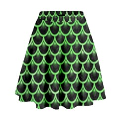 Scales3 Black Marble & Green Watercolor High Waist Skirt