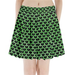 Scales3 Black Marble & Green Watercolor Pleated Mini Skirt