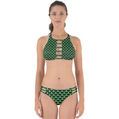Scales3 Black Marble & Green Watercolor Perfectly Cut Out Bikini Set
