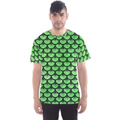 Scales3 Black Marble & Green Watercolor (r) Men s Sports Mesh Tee
