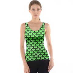 Scales3 Black Marble & Green Watercolor (r) Tank Top
