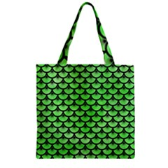 Scales3 Black Marble & Green Watercolor (r) Zipper Grocery Tote Bag