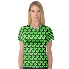Scales3 Black Marble & Green Watercolor (r) V Neck Sport Mesh Tee
