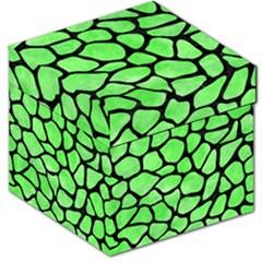 Skin1 Black Marble & Green Watercolor Storage Stool 12