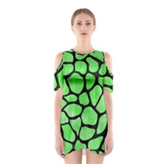Skin1 Black Marble & Green Watercolor Shoulder Cutout One Piece