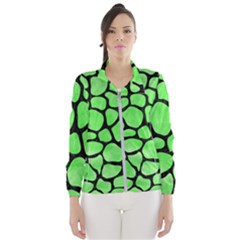 Skin1 Black Marble & Green Watercolor Wind Breaker (women)