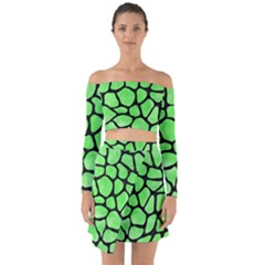 Skin1 Black Marble & Green Watercolor Off Shoulder Top With Skirt Set