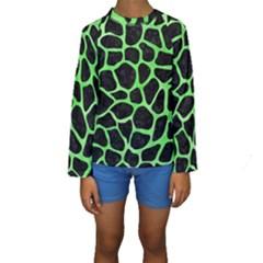 Skin1 Black Marble & Green Watercolor (r) Kids  Long Sleeve Swimwear