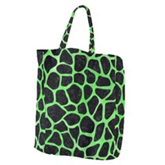 Skin1 Black Marble & Green Watercolor (r) Giant Grocery Zipper Tote