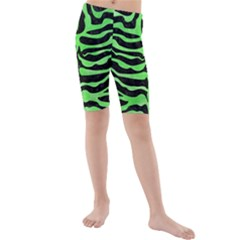 Skin2 Black Marble & Green Watercolor Kids  Mid Length Swim Shorts