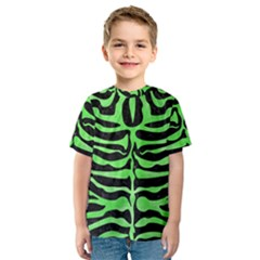 Skin2 Black Marble & Green Watercolor Kids  Sport Mesh Tee