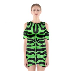 Skin2 Black Marble & Green Watercolor Shoulder Cutout One Piece