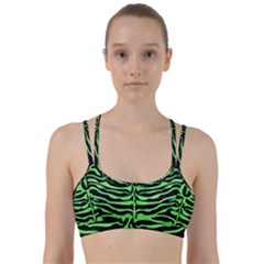 Skin2 Black Marble & Green Watercolor Line Them Up Sports Bra