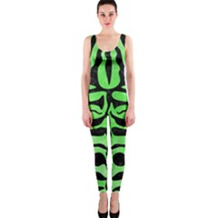 Skin2 Black Marble & Green Watercolor (r) Onepiece Catsuit