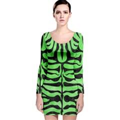 Skin2 Black Marble & Green Watercolor (r) Long Sleeve Velvet Bodycon Dress