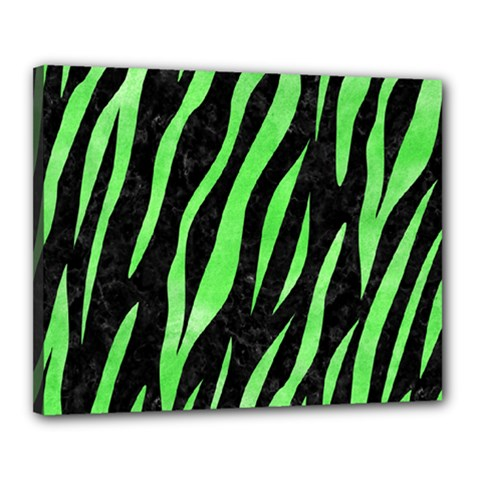 Skin3 Black Marble & Green Watercolor Canvas 20  X 16