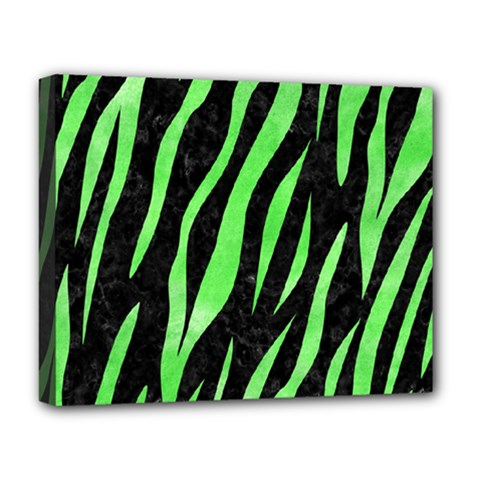Skin3 Black Marble & Green Watercolor Deluxe Canvas 20  X 16