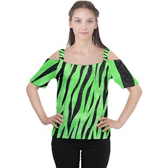 Skin3 Black Marble & Green Watercolor (r) Cutout Shoulder Tee