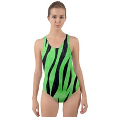 Skin3 Black Marble & Green Watercolor (r) Cut Out Back One Piece Swimsuit